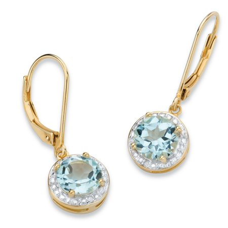 3.10 TCW Genuine Sky Blue Topaz and Diamond Accent Pave-Style Halo Drop Earrings in 14k Gold over Sterling