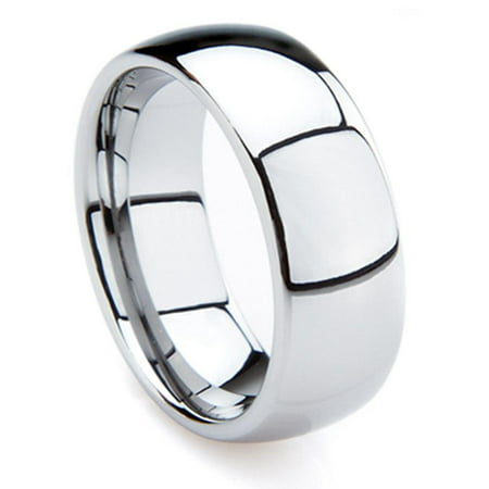 Tungsten Carbide 8MM High Polished Comfort Fit Domed Wedding Band Ring Sz 10.0
