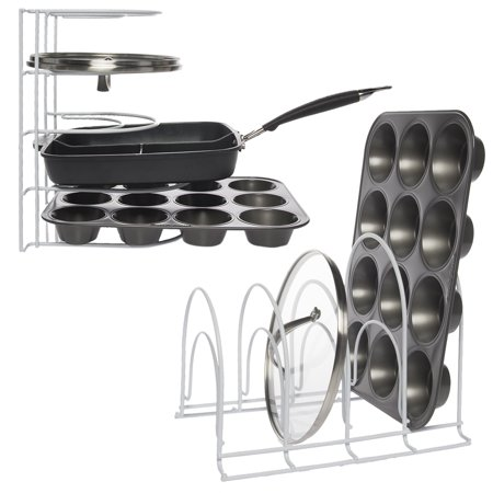 - Evelots (2 Pack) Pots Pan Lid Storage Rack Organizer Holder Protector Wire Metal Countertop White