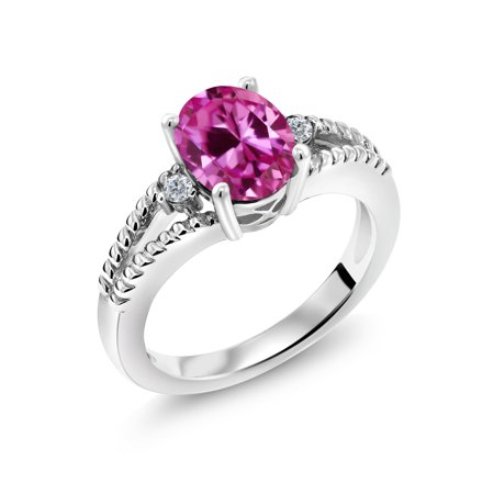 2.45 Ct Oval Pink Created Sapphire White Diamond 925 Sterling Silver Ring