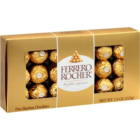 Ferrero Rocher Hazelnut Milk Chocolates, 18 Ct