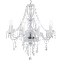 Best Choice Products 8 Light Center Lighting Crystal Chandelier Pendant Ceiling Lamp- Clear