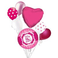 7 pc Happy 40th Birthday Hot Pink & Dots Balloon Bouquet Eighteen Ribbon & Lace