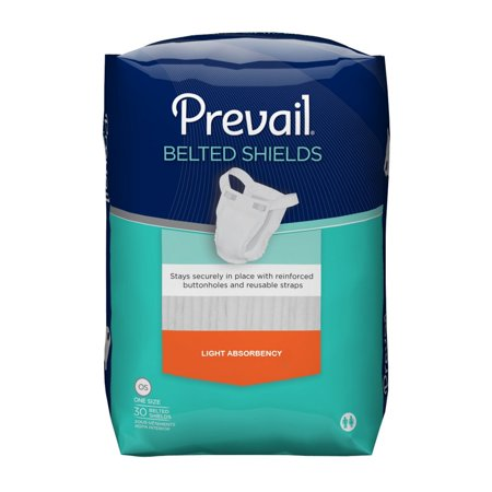 Prevail Belted Shields Incontinent Undergarment PV-324 One Size Fits Most Pack of 30, (Select Belted Undergarments)