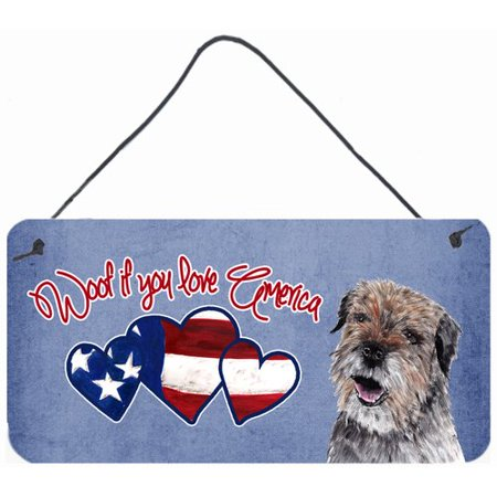 Caroline's Treasures Woof if you love America Border Terrier by Sylvia Corban Painting Print Plaque
