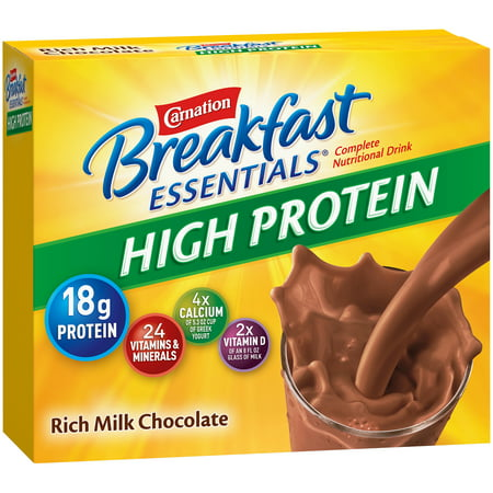 Carnation Breakfast Essentials High Protein Rich Milk Chocolate Powder, 1.31 oz Packets, 8 Count