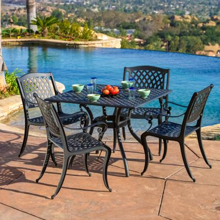 Christopher Knight Home Outdoor Cayman 5 Piece Cast Aluminum Black Sand Dining Set By