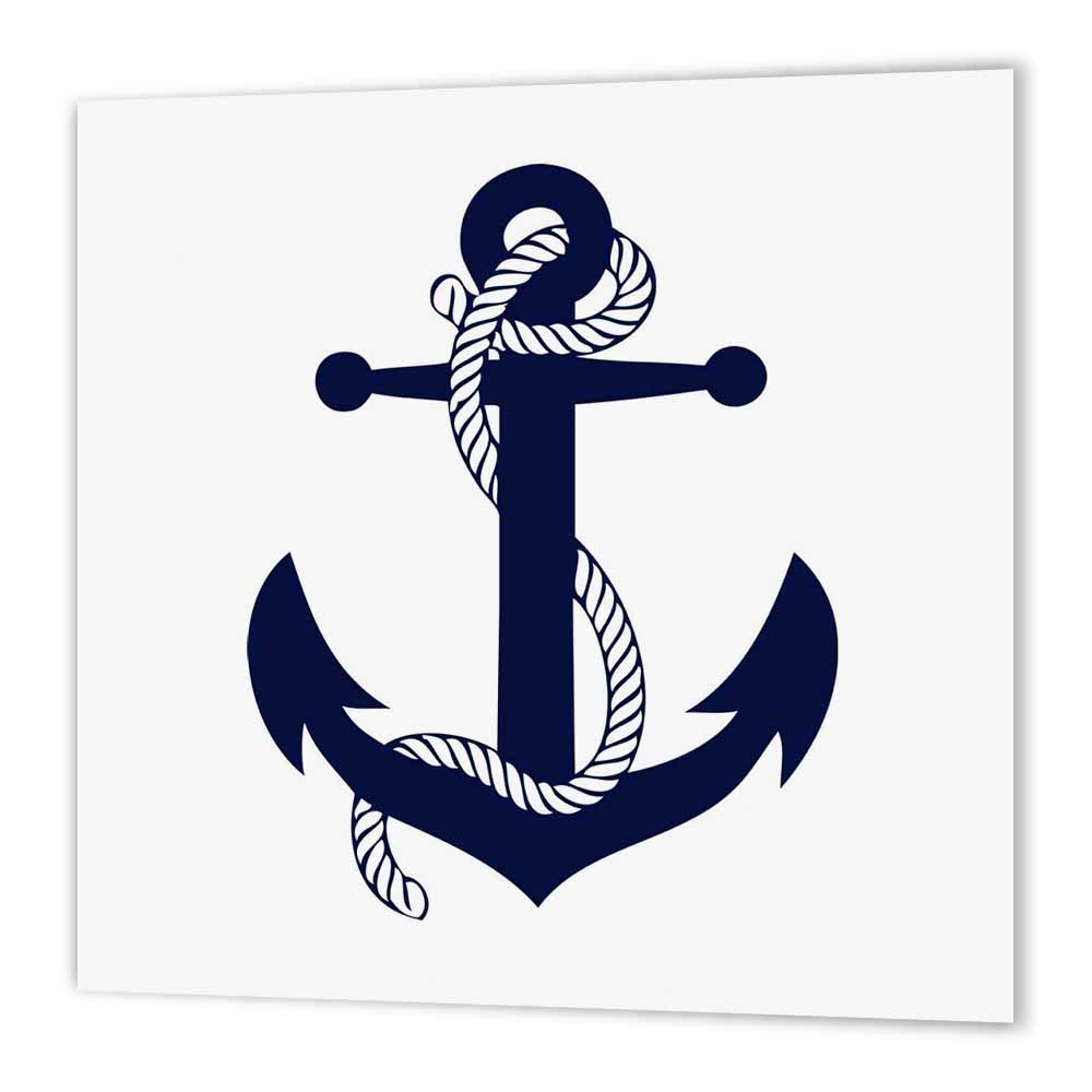 3dRose Anchor. Navy., Iron On Heat Transfer, 8 by 8-inch, For White Material
