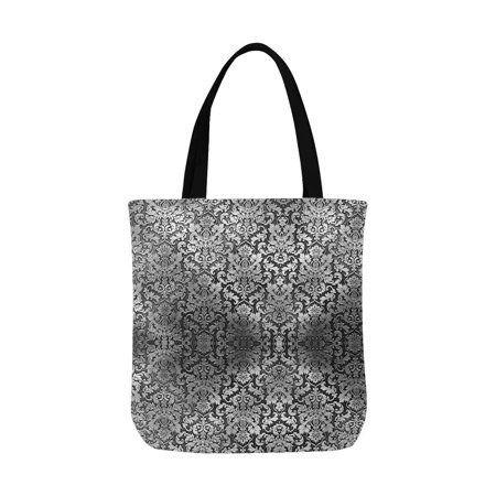 ASHLEIGH Silver Metal Plate Damask Classic Ornament Washable Canvas Tote Bag Resuable Grocery Bags Shopping Bags Canvas Tote Bag Perfect for Crafting Decorating