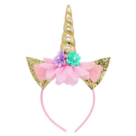 TURNTABLE LAB Unicorn Horn Headband, Photo Props Gold Cat Ears Flowers Unicorn Headband for Cosplay Costume Birthday Party (Headband Flowers)