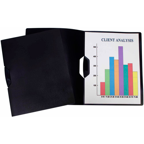 Storex Swing Clip Clear Report Covers, All Black