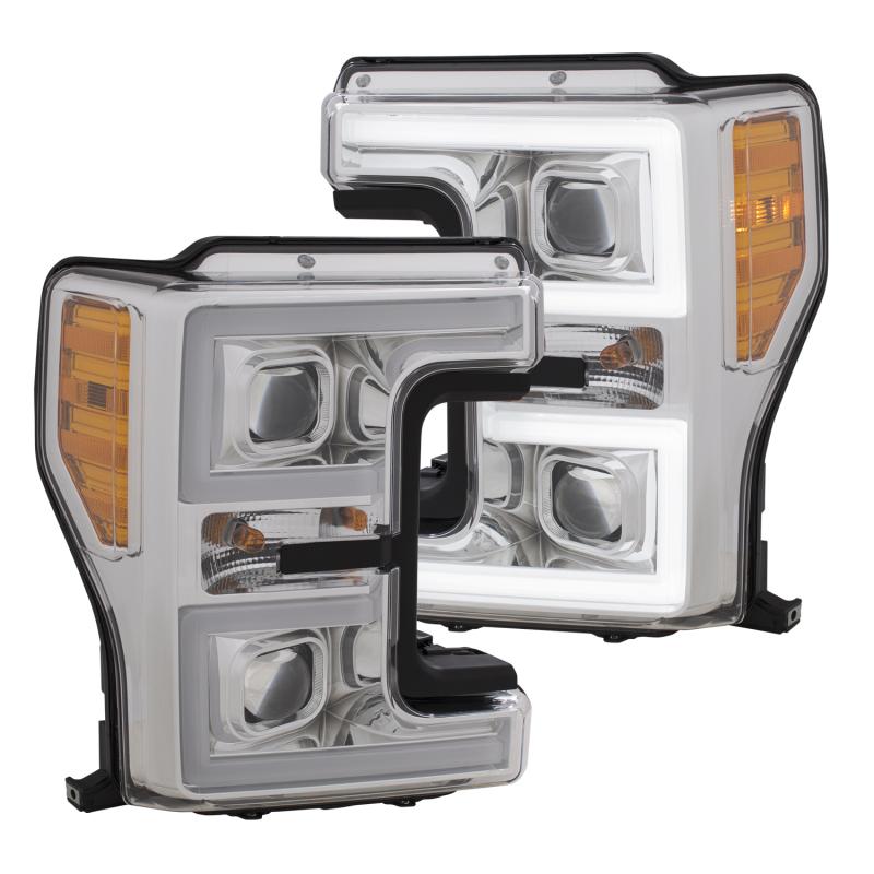 ANZO LED Headlights 17-18 Ford F-250 Super Duty Plank-Style L.E.D. Headlight Chrome (Pair)