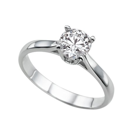1 Carat (DEW) Moissanite Engagement Ring Forever One 14K White Gold Classic Cathedral Round Cut 6.5MM Moissanite
