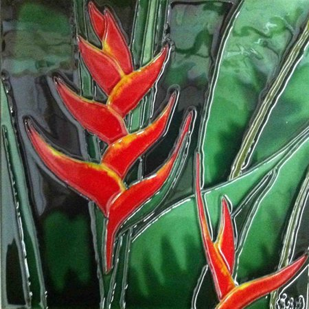 Continental Art Center Orange Heliconia Tile Wall Decor