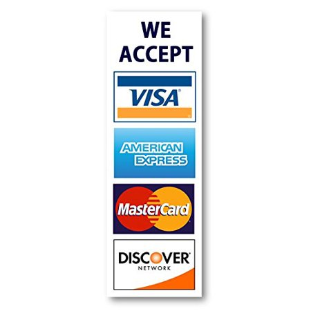 We Accept Credit Cards AmEx Visa MasterCard Discover Decals Sticker Logo Sign for Stores & Businesses (2.75