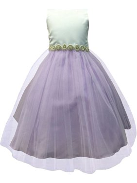 ab4755fa4438 Product Image Little Girls Lilac Satin Tulle Rhinestone Flower Girl Dress