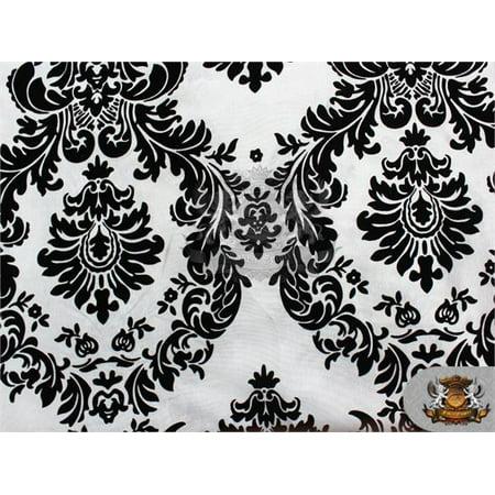 Satin Trimmed Velvet (Satin Velvet Prints Fabric EMPIRE DAMASK WHITE / 52