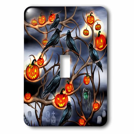 3dRose Mysterious Crows and Jack-o-Lanterns in tree branches on Halloween - Single Toggle Switch