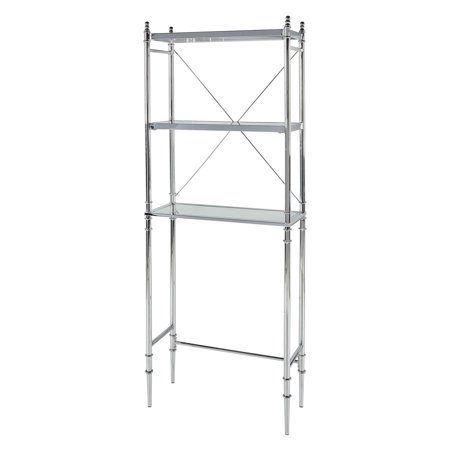 Linon Pinnacle Chrome and Glass Spacesaver, 3 Tiered Shelves ()