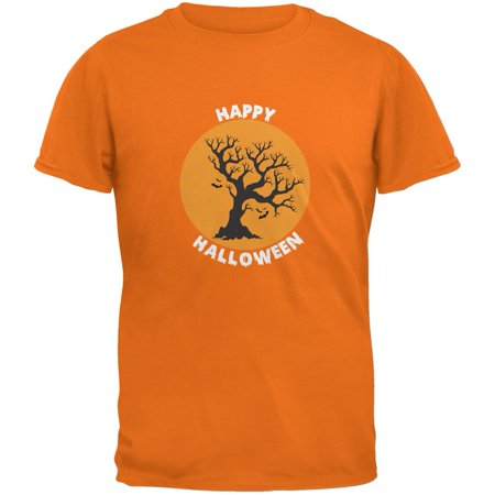 Happy Halloween Tree Silhouette Mandarin Adult T-Shirt (Happy Halloween Divertido)