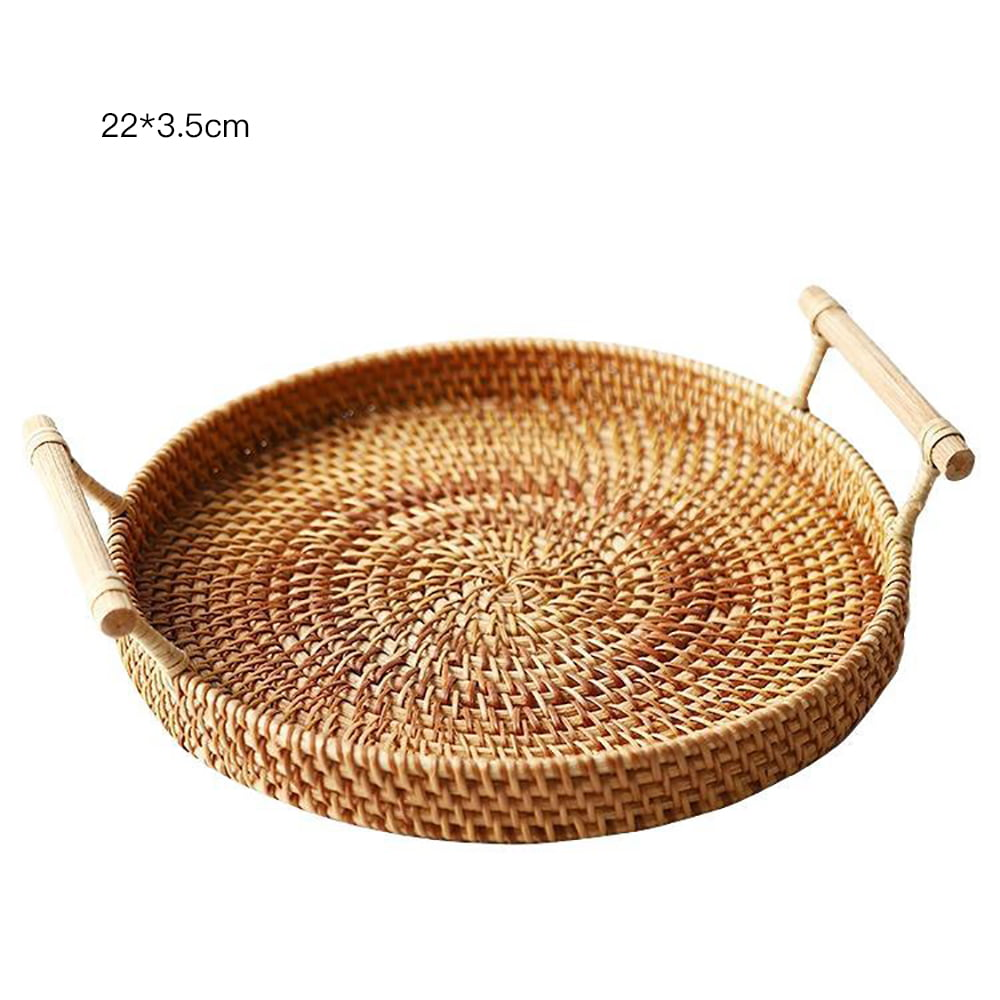 Rattan Woven Bread Basket Round Woven Cracker Tray With Handles For Serving Dinner Parties Picnic Basket Bread Fruit Tabletop Storage Basket Home Accessories Walmart Com Walmart Com