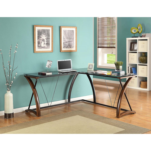 Whalen Newport Wood & Glass  L-Shaped Desk, Brown