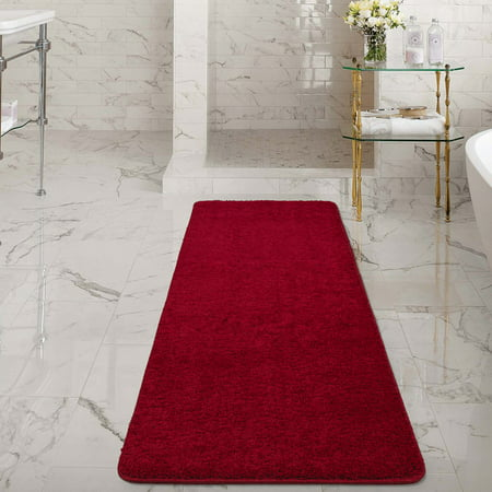 Ottomanson Luxury Non Slip Rubber Backing Solid Shag Area Rugs And
