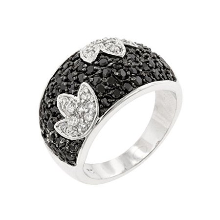 Genuine Rhodium Plated Tulip Cocktail Ring with Pave Black and White Cubic Zirconia Size 5](Tulip Rings)