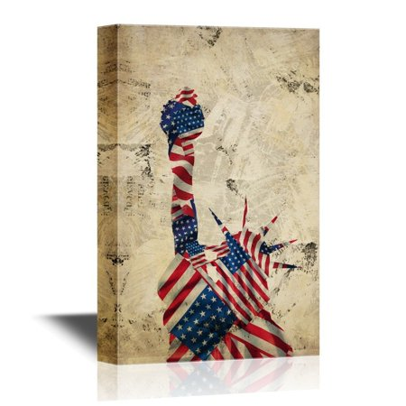 wall26 Military Family Canvas Wall Art - Statue of Liberty with the American Flag Background - Gallery Wrap Modern Home Decor | Ready to Hang - 32x48 inches (Wall Art Statue)