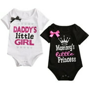 Newborn Infant Baby Daddy Mommy Girls Bodysuit Romper Jumpsuit Clothes Outfit