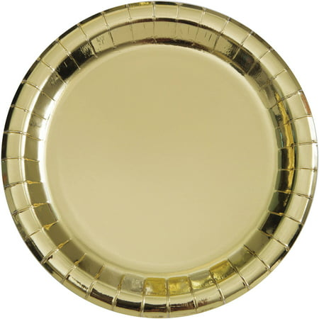 Gold Foil Paper Dinner Plates, 9in, 8ct (Solid Color Paper Plates)