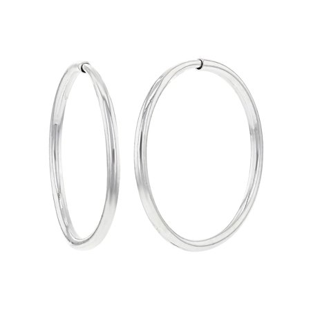 Silver Plated Thin Small Endless Hoop Earrings For Women