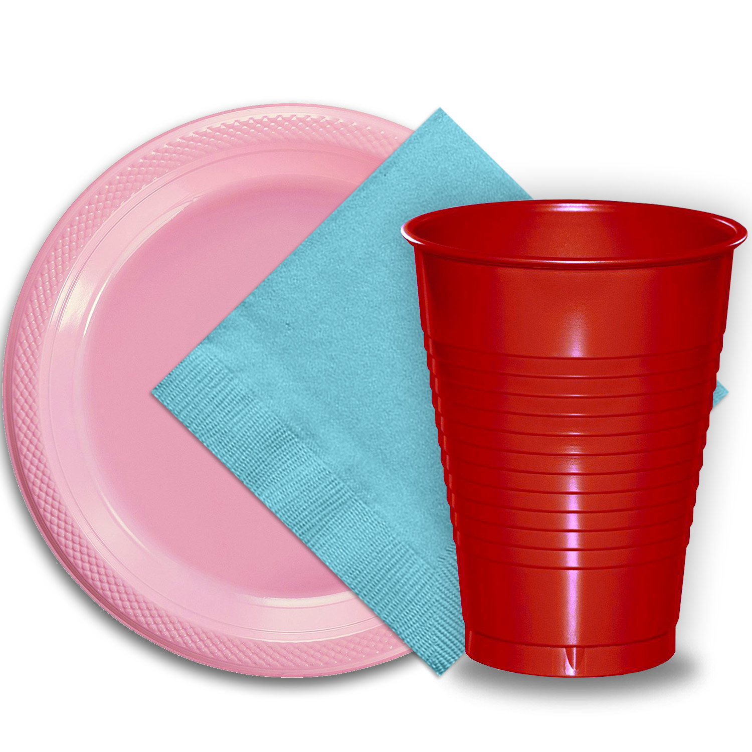 "50 Pink Plastic Plates (9""), 50 Red Plastic Cups (12 oz.), and 50 Light Blue Paper Napkins, Dazzelling Colored Disposable Party Supplies Tableware Set for Fifty Guests."