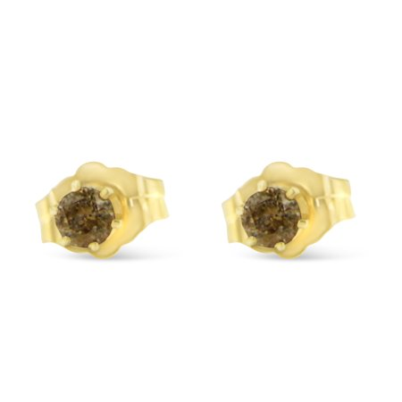 Gold Champagne Diamond Earrings - 14K Yellow Gold 0.2 CTTW Champagne Color Diamond Stud Earrings (J-K, I2-I3)