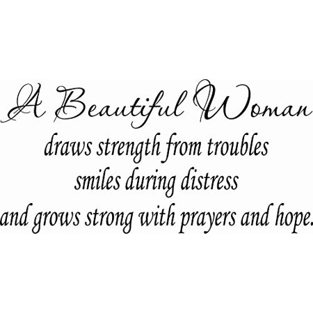 Drag Decal - A Beautiful Woman Draws Strength From Troubles Smiles... 9 x 22 Beautiful Vinyl Wall Decal by Scripture Wall Art Includes Our Exclusive