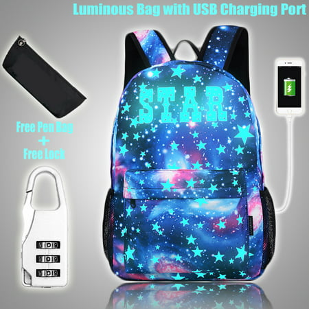 Luminous Cartoon Galaxy School Bag Backpack Glow In Dark USB Charging Earphone Hole Anti-theft Lock Pen Bag Double Slide Zipper Big Capacity for Women Men