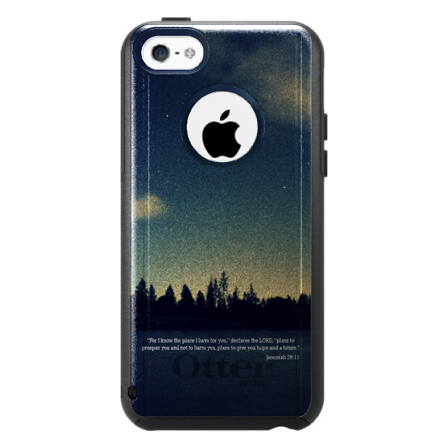 DistinctInk™ Custom Black OtterBox Commuter Series Case for Apple iPhone 5C - Night Sky Lake Jeremiah 29:11