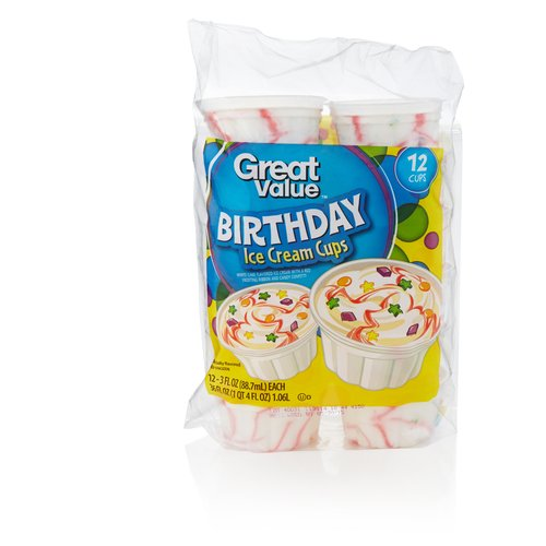 Great Value Birthday Bash Ice Cream Cups 3 fl oz 12 ct Walmartcom
