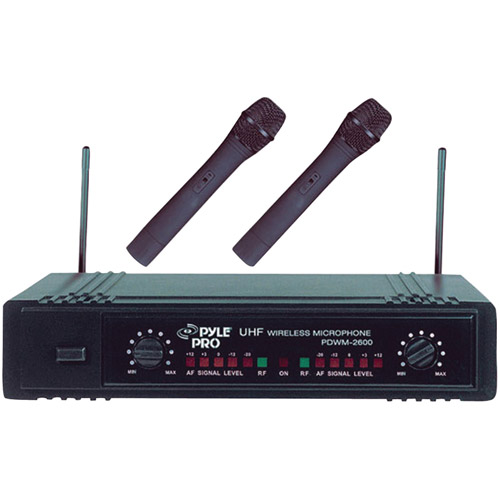 Pyle PDWM2600 Dual UHF Wireless Microphone System by PylePro
