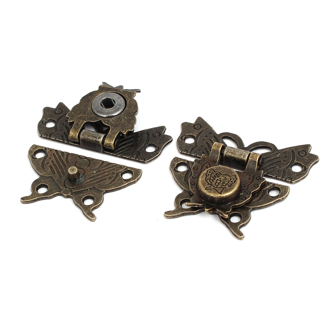 Wooden Box Case Butterfly Design Latches Hasps Locks Bronze Tone 50x45x8mm 2pcs