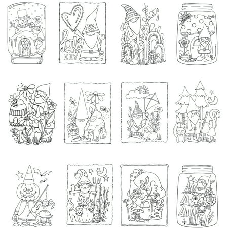 "ArtPlay Watercolor Paper Mini Coloring Book 4""X6"" 12 Pages ..."