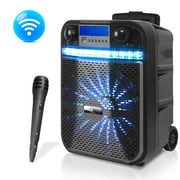 PYLE PWMA337BT - Portable Bluetooth Karaoke Speaker System - Digital PA Loudspeaker with Downloadable App, Flashing DJ Lights, Rechargeable Battery, Wired Microphone, FM Radio