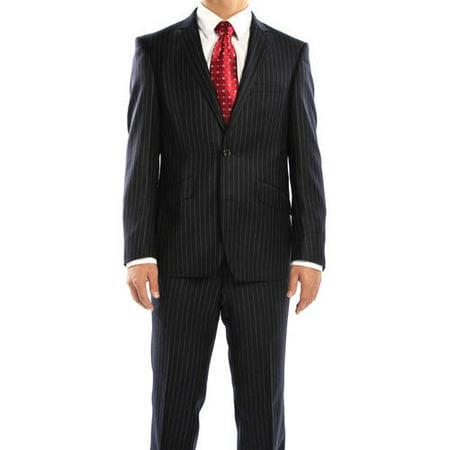 768e58edf80 Rivelino - Men s Navy Chalk Stripe Slim Fit Wool Italian Styled Two Piece  Suit - Walmart.com