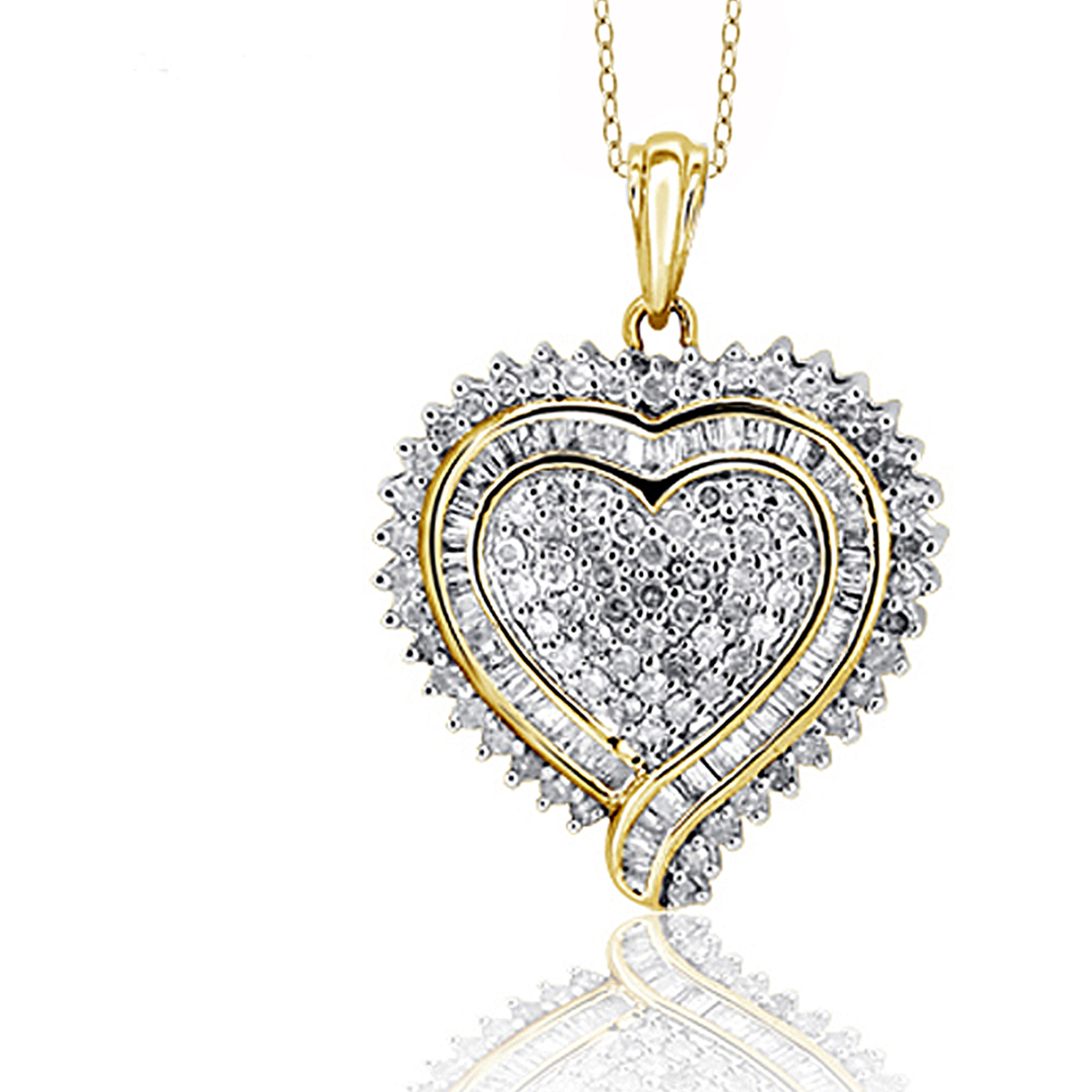 JewelersClub 1.00 Carat T.W. White Diamond Gold over Silver Heart Pendant by JewelersClub