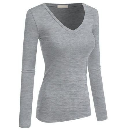de48c9578001 TheLovely - Women   Juniors Basic Solid Plain V-Neck Long Sleeve T Shirt  Top - Walmart.com