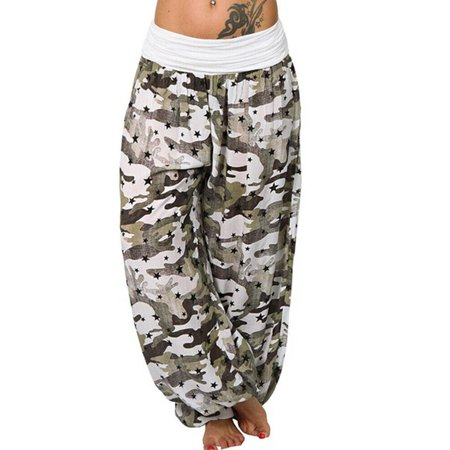 Plus Size Women Camouflage Yoga Stretch Harem Pants