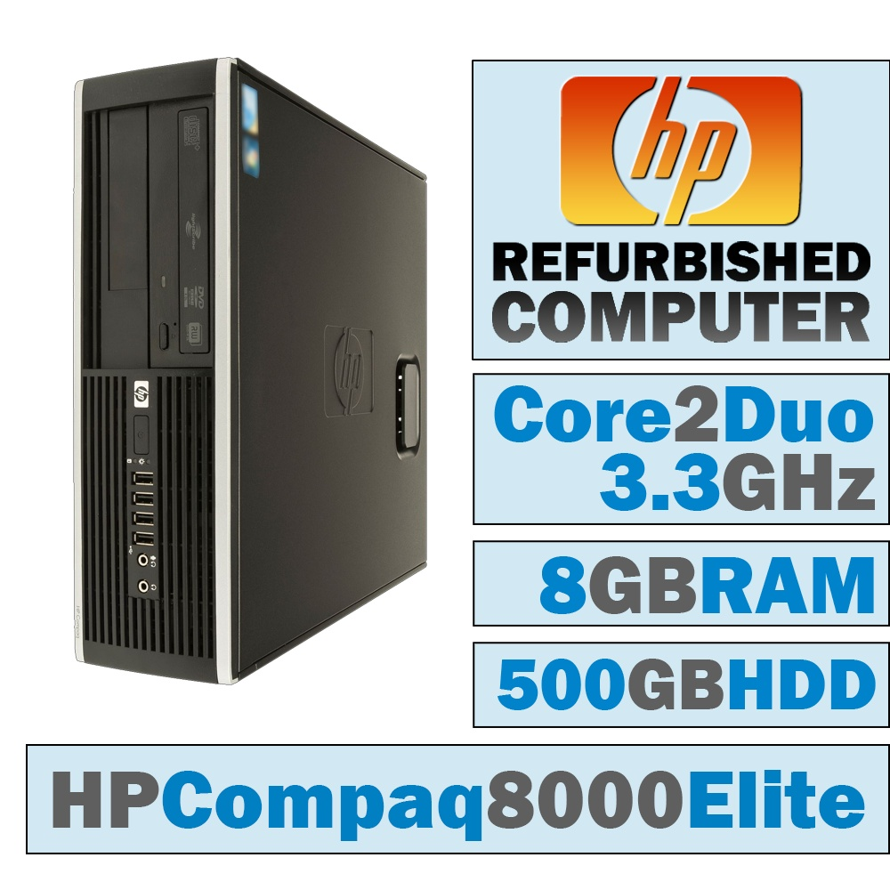 REFURBISHED HP Compaq 8000 Elite SFF/Core 2 Duo E8600 @ 3.33 GHz/8GB DDR3/500GB HDD/DVD-RW/WINDOWS 10 HOME 64 BIT
