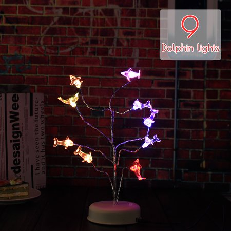 Home Decoration Dolphins Tree Branch Lights LED Night Light Table Lamp Charging Gift Decor](Oscar Night Decorations)
