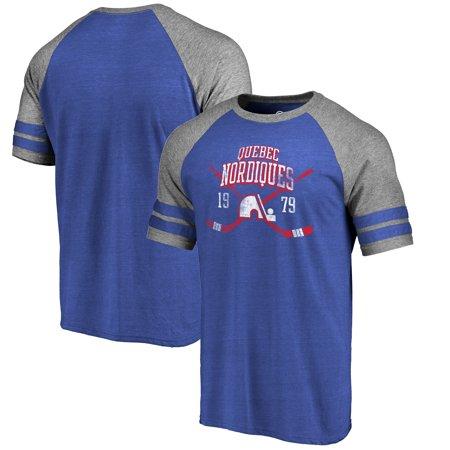 Quebec Nordiques Fanatics Branded Vintage Collection Line Shift Tri-Blend Raglan T-Shirt -
