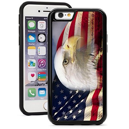 For Apple iPhone 6 6s Shockproof Impact Hard Soft Case Cover American Bald Eagle Flag (Black) (Iphone 6 Skins American Flag)